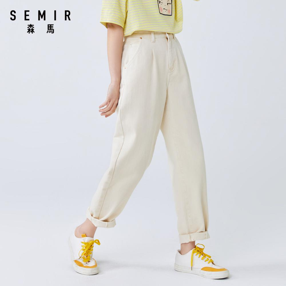 SEMIR Women cotton jeans 2020 summer new loose high waist demin pants trend straight simple ladies casual jeans for travel 2