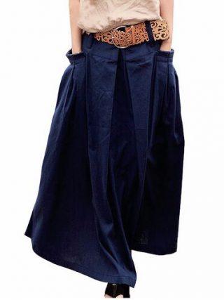 Women Linen Long Summer Skirt