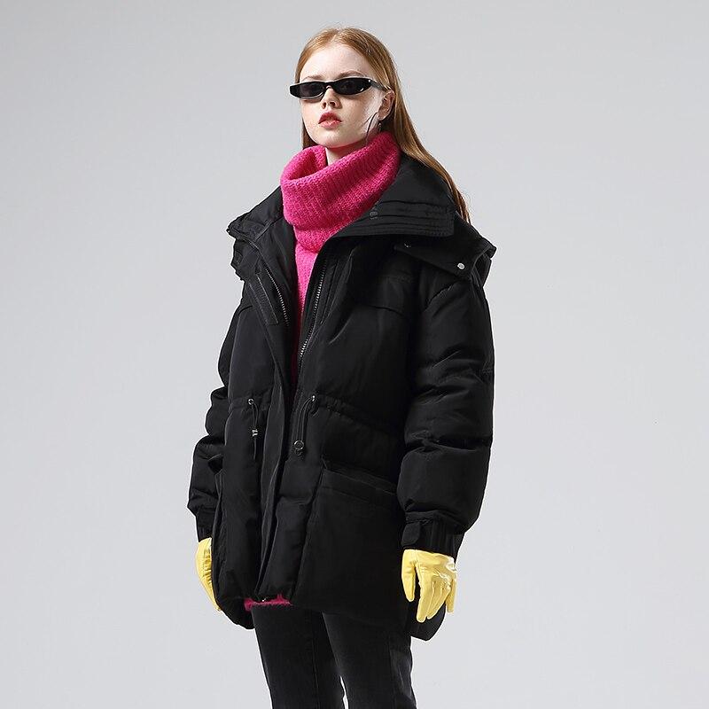 Toyouth Fashion Big Pockets Long Women Down Jacket Thicken Winter Warm Hooded Coat Casual Solid Long Sleeve Women Down Coat 4