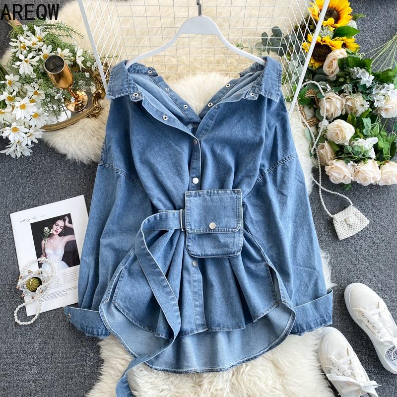 Vintage Sashes Slim Waist Jeans Coat Women Autumn Spring Women Denim Jacket Korean Long Denim Women Jacket 2