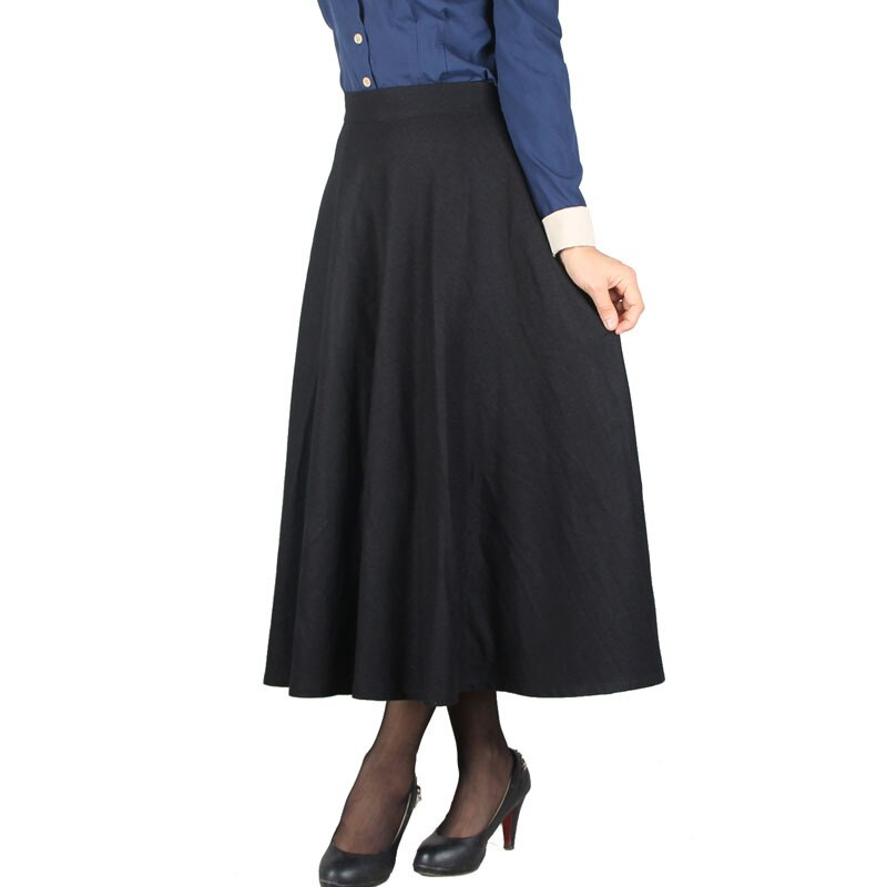 Plaid Skirt Women Long Skirt British Style Woolen Plaid Skirts Spring Vintage Wool Tartan Umbrella Autumn Elegant Female Skirts 3