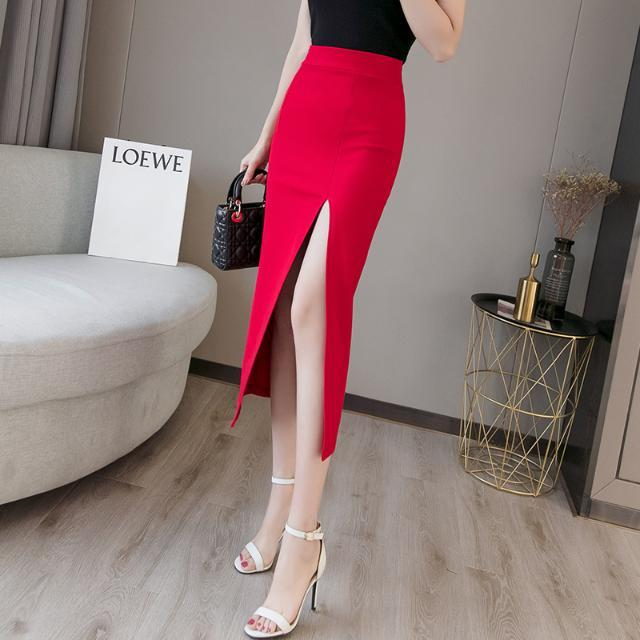 2020 Summer Women Long Skirt Casual Wrap Female Sexy Split High Waist Midi Skirt Office Party Ladies Elegant Plus Size 5XL F22 3