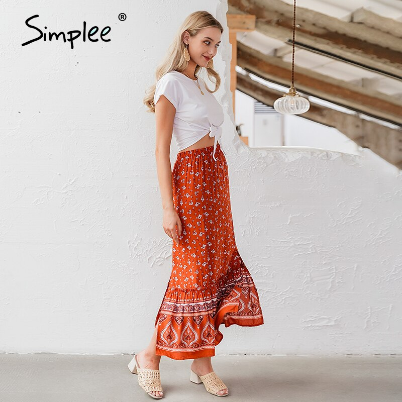 Simplee Bohemian floral print women long skirt Ruffled split A-line female skirts Spring summer holiday beach ladies skirts 2020 2