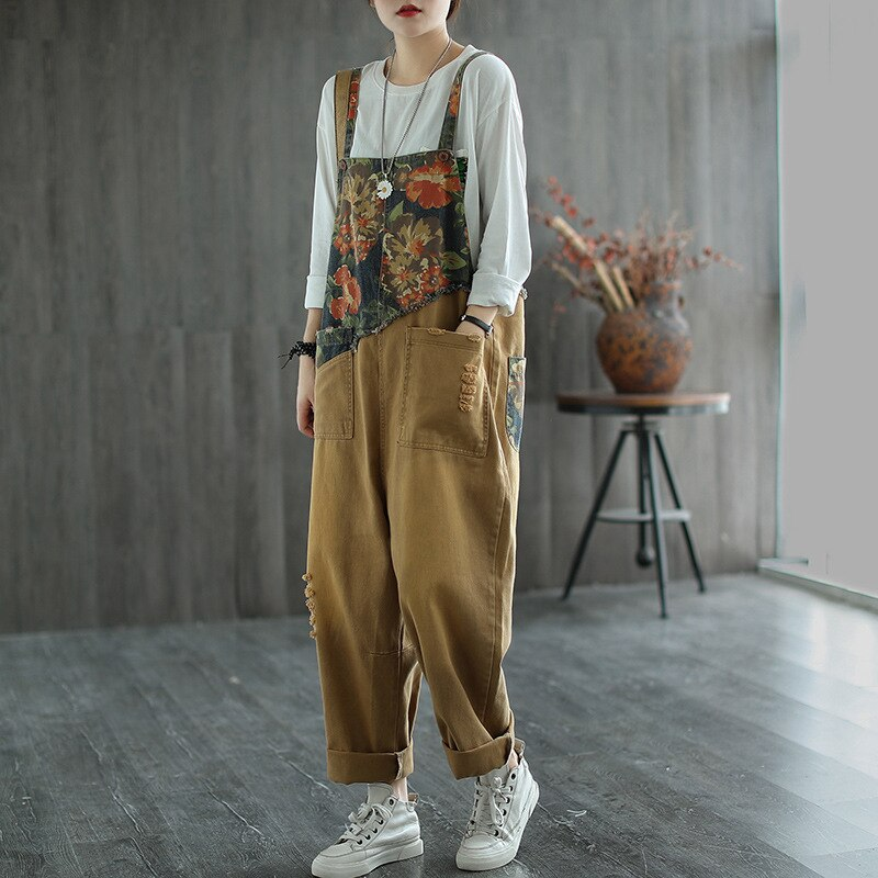 Max LuLu New Chinese Designer Ladies Floral Denim Trousers Womens Vintage Printed Jeans Casual Loose Ripped Oversized Overalls 2