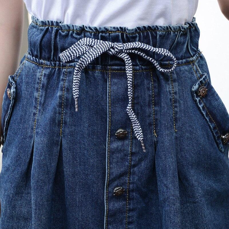 2019 High Waist Cotton Denim Women Long Skirt Lace-Up Waist Oversize Women Denim Skirt Plus Size 7XL Women Skirts Faldas Saias 2