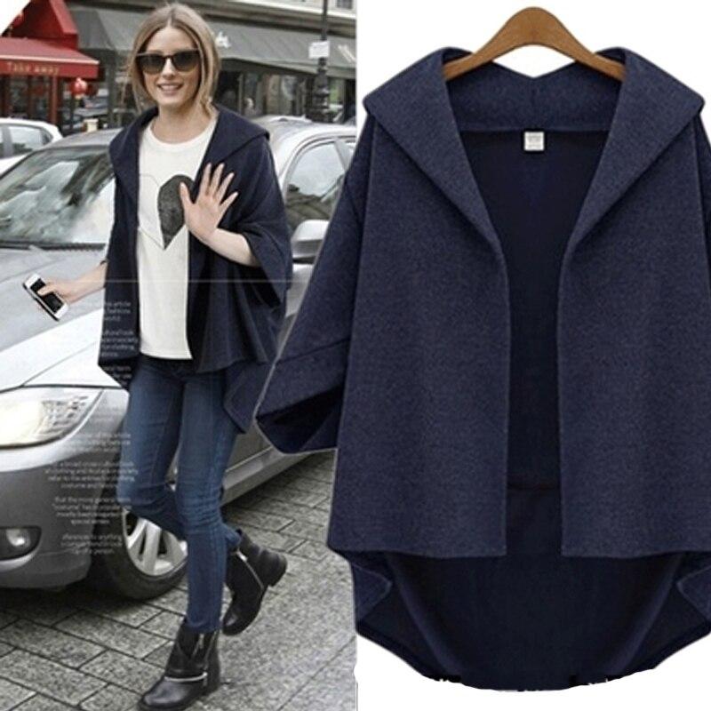European Style Women Jackets 2019 Autumn Winter Ladies Asymmetrical Outerwear Wool&Blends Bawting Sleeve Coats Plus Size XL- 6XL 4