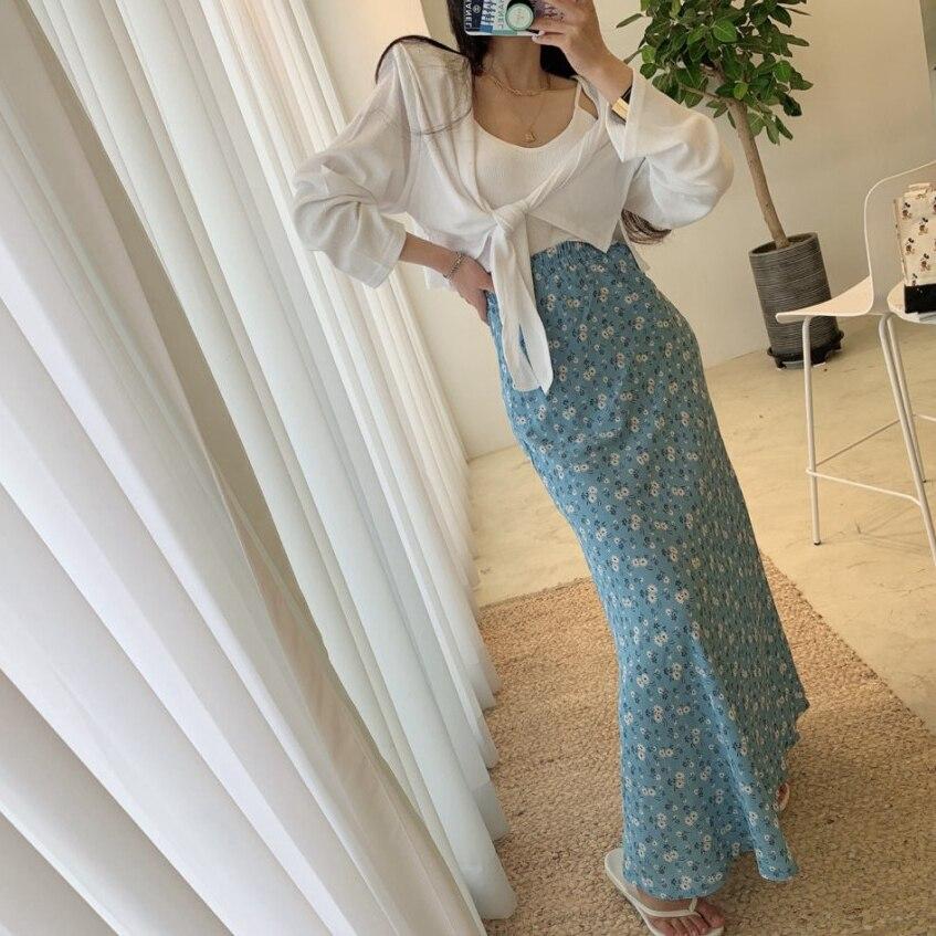 COIGARSAM Vintage Floral Women Long Skirt Print Chiffon High Waist Skirts Red Blue Black 4395 2