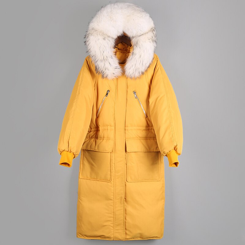 Fitaylor Women Down Jacket Warm Large Natural Fur Collar Hooded 90% White Duck Down Parkas Casual Female Thick Loose Outwear 2