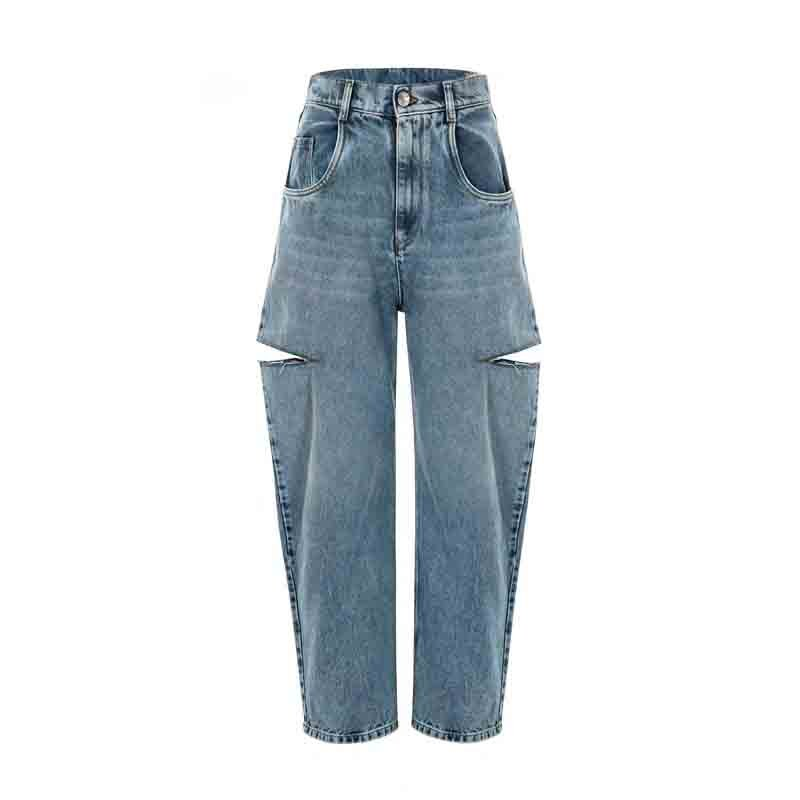 Cosmicchic 2020 Women Straight ripped Jeans Casual Knife Cut Hole Loose Pants High Waist Street Retro Denim Trousers Female