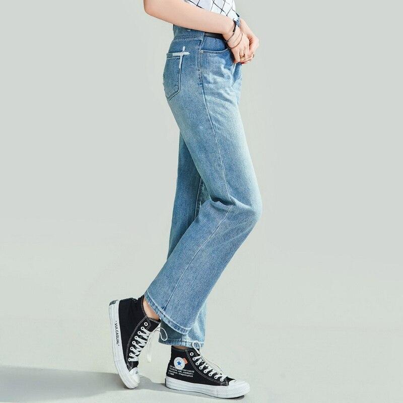 HAVVA 2020 New Women's Retro Washed Old Straight Denim Long Jeans Female Loose Slim Denim Pants K4973 1