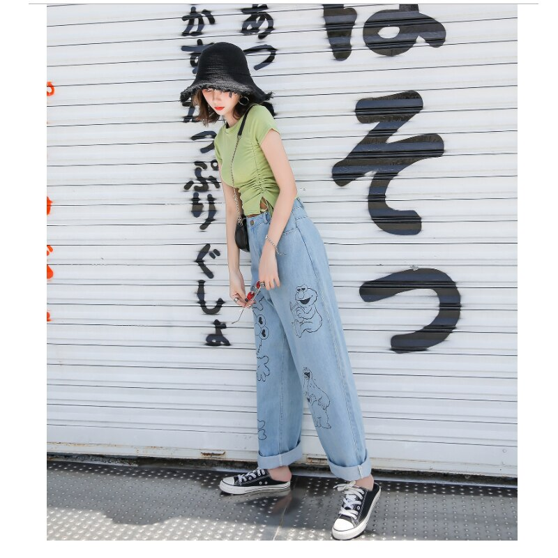 Vintage Washed Korean Long High Waisted Wide Leg Jeans For Women Cartoon Print Baggy Straight Jeans Female Loose Boyfriend Jeans 2