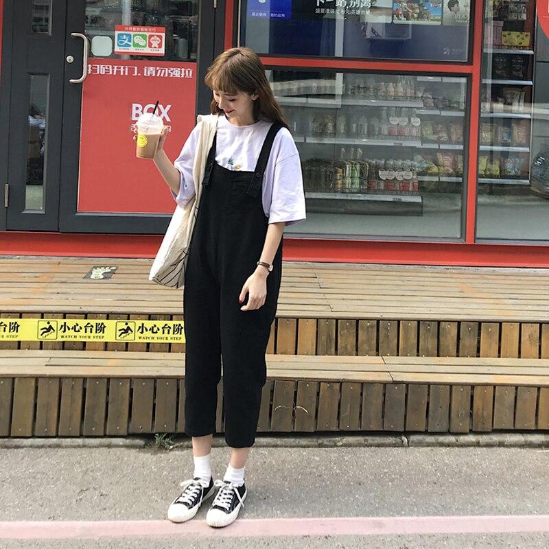 2020 Summer Women Cotton Loose Waist Straight Adjustable Shoulder Straps Washed Hole Ankle-Length Jeans Overalls K20 2
