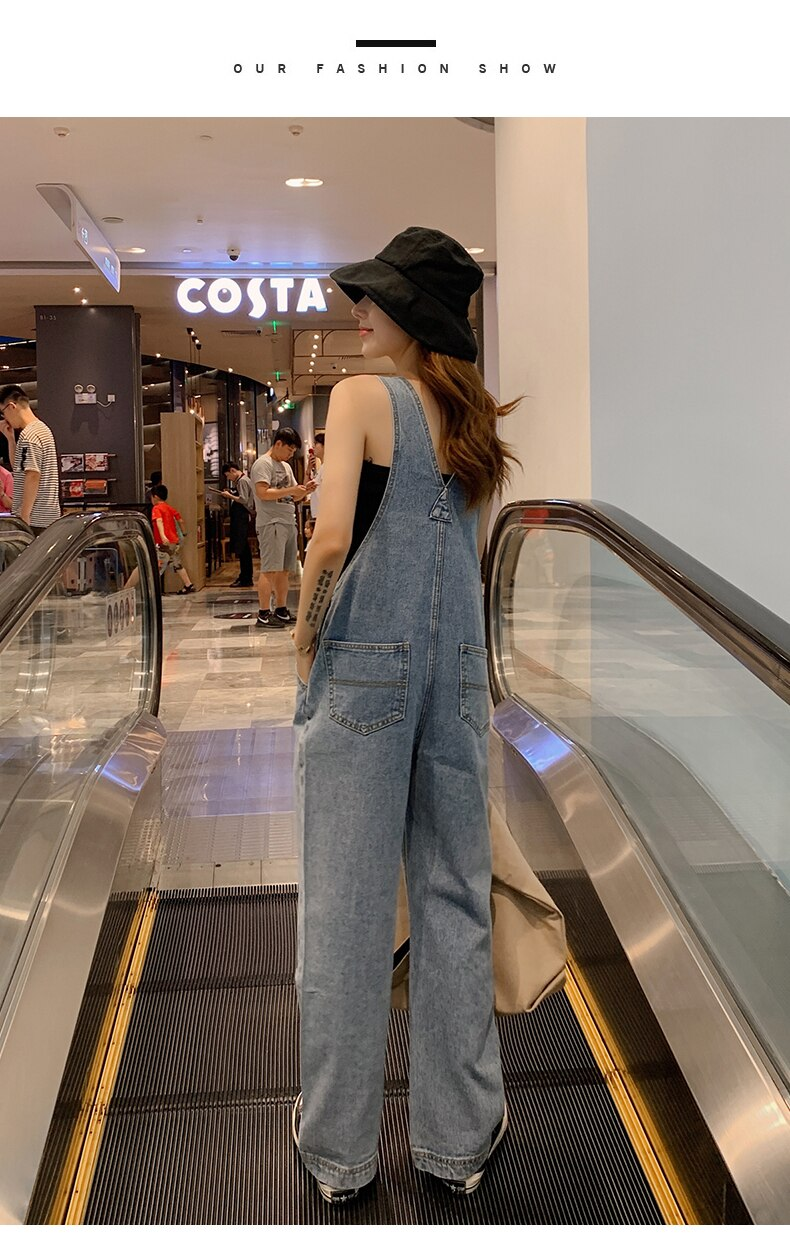 Ripped Jeans For Women Wide-Leg Overalls Pants With Shoulders Straps Korean-style High-waisted Loose Mopping Pants Denim Jumper 3