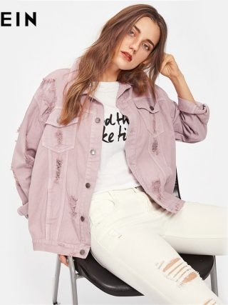 SHEIN Rips Detail Boyfriend Denim Jacket Autumn