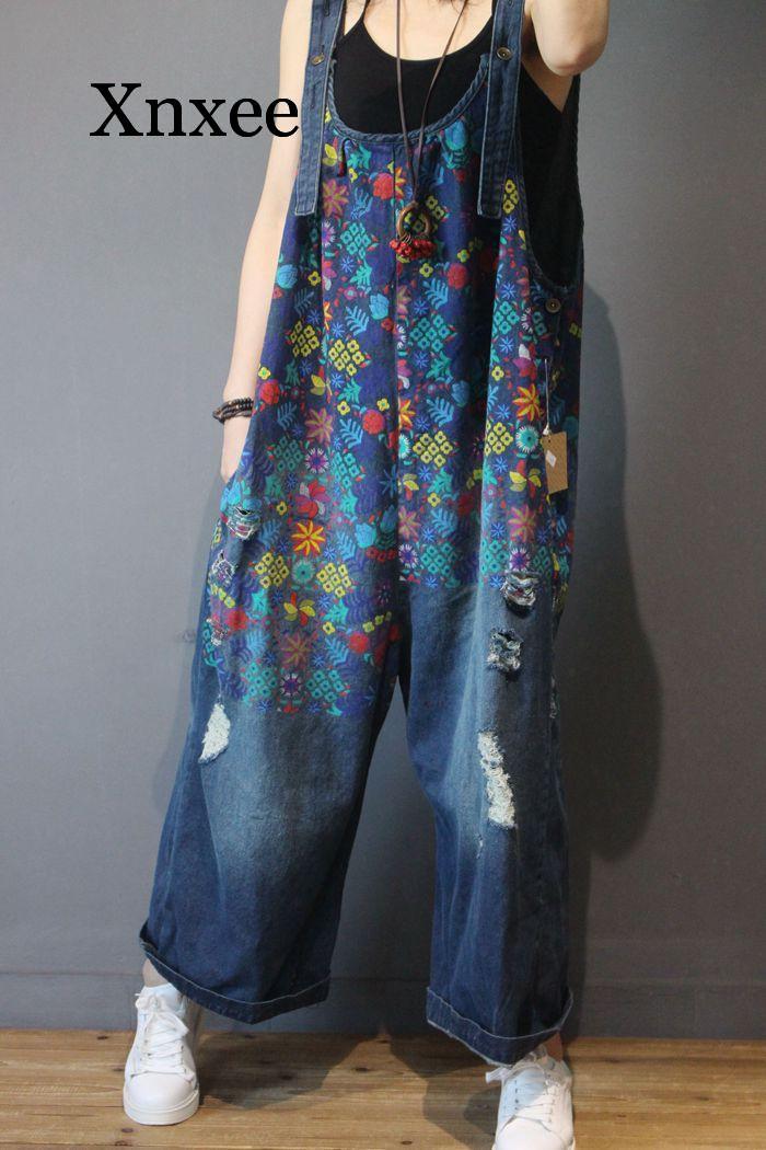 Women Denim Overalls Print Floral Vintage Plus Size Casual flower print Ripped Hole Wide Leg Jumpsuit Ladies Jeans Romper loose 3