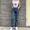 Excessive Waist Girls Straight Denims Butterfly Print Jeans