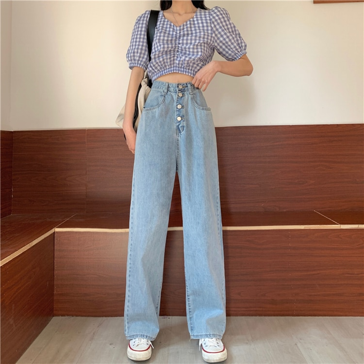 Wide Leg Jeans Women High Waist Straight Denim Pants Jeans Loose Plus Size Boyfriend Mom Jeans Vintage Summer 2020 Chic 2