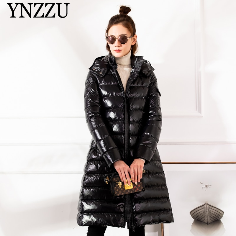 2019 Winter Large size Women down jacket Hooded Loose thick warm Female down coat Zip High quality Overcoat Elegant YNZZU 9O050 1