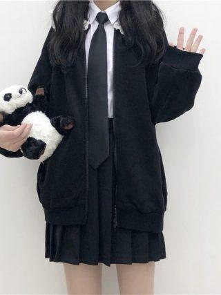 Preppy Model Candy Tender Girly Black Zip JK Girls Jacket