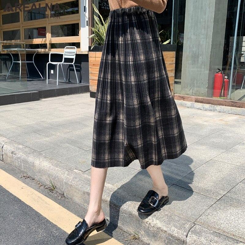 Korean Style Black School Pleated Skirt for Women Plaid Tweed Skirts Womens Long Skirts Womens Midi Skirt Checkered Tartan Skirt 1