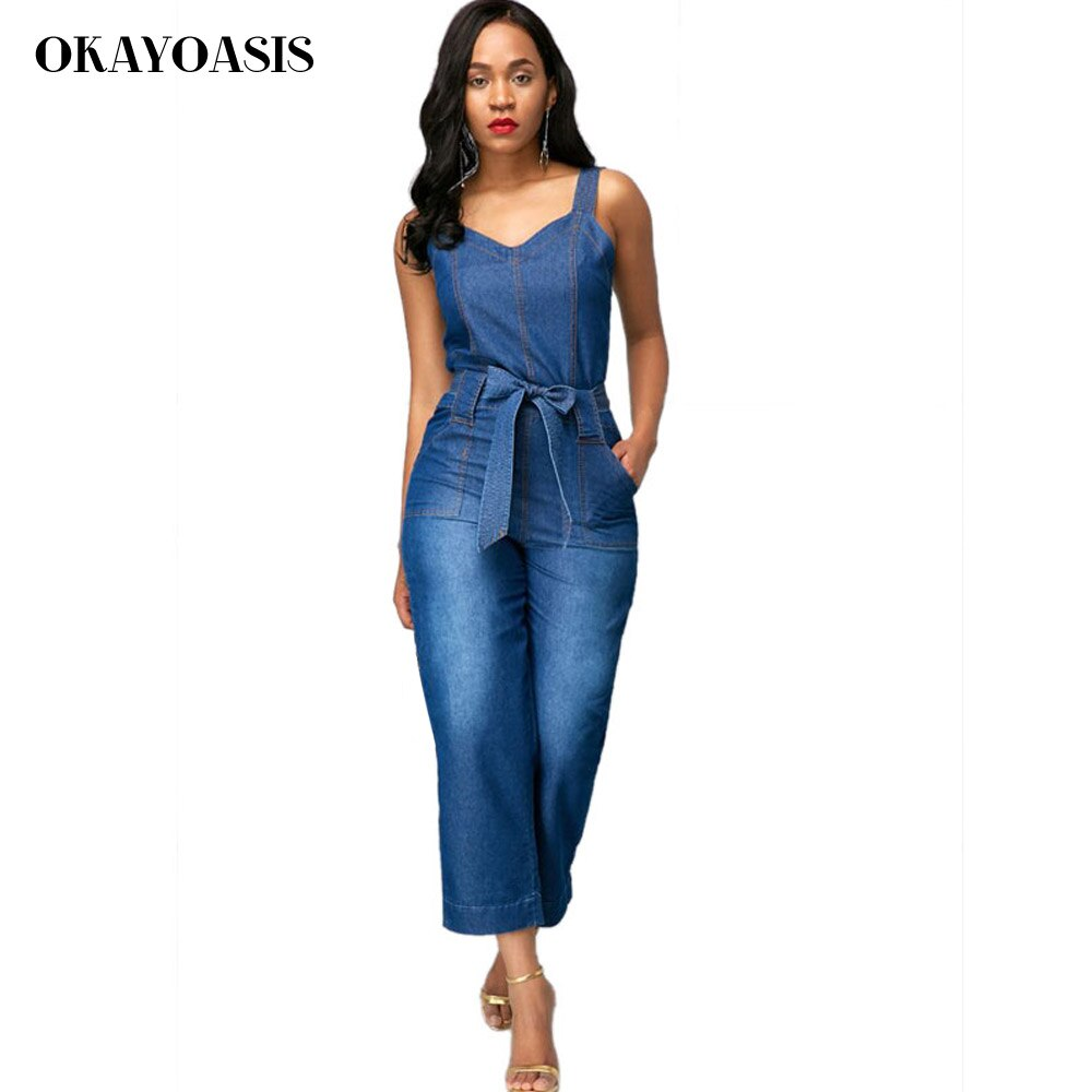 OKAYOASIS Jeans Jumpsuits for Women Loose Denim Overalls 2018 Summer Combinaison with Pockets Enteritos Female