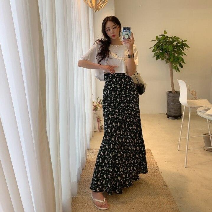 COIGARSAM Vintage Floral Women Long Skirt Print Chiffon High Waist Skirts Red Blue Black 4395 3