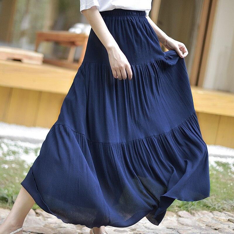 Bohemian Women Stretch High Waist Solid Long Cotton Skirts Womens Boho Maxi Skirt Saia Longa Faldas Women Long Skirt