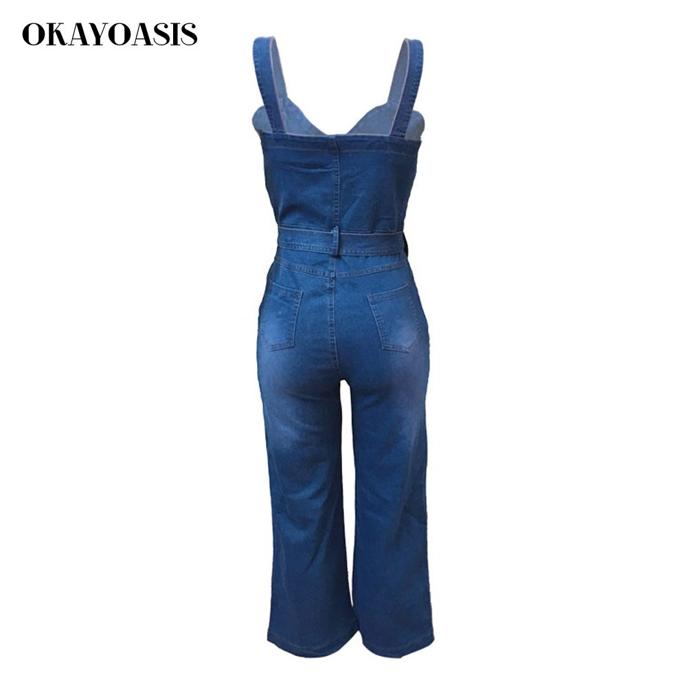 OKAYOASIS Jeans Jumpsuits for Women Loose Denim Overalls 2018 Summer Combinaison with Pockets Enteritos Female 4