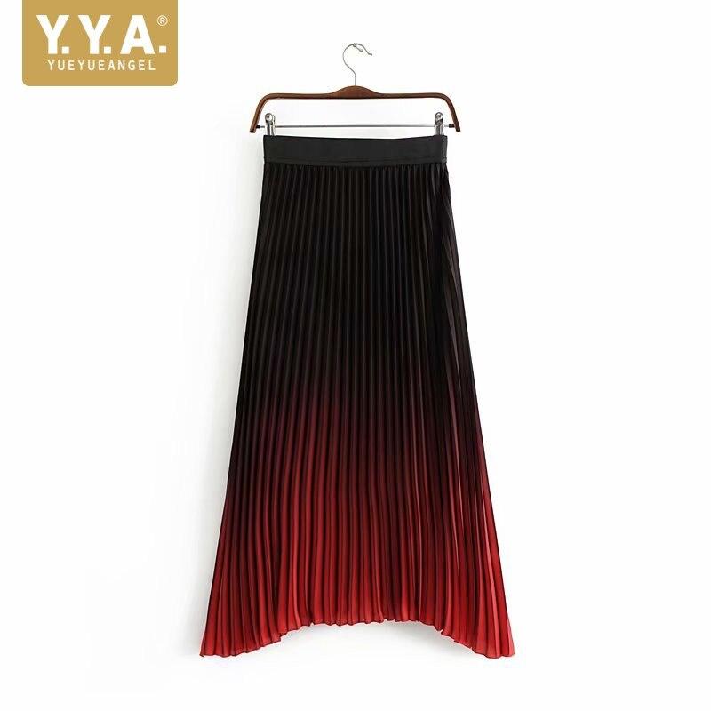 Spring Summer Women Gradient Color Pleated Skirt Elastic High Waist Long Skirt Fashion Ladies Ankle Length Skirt Streetwear