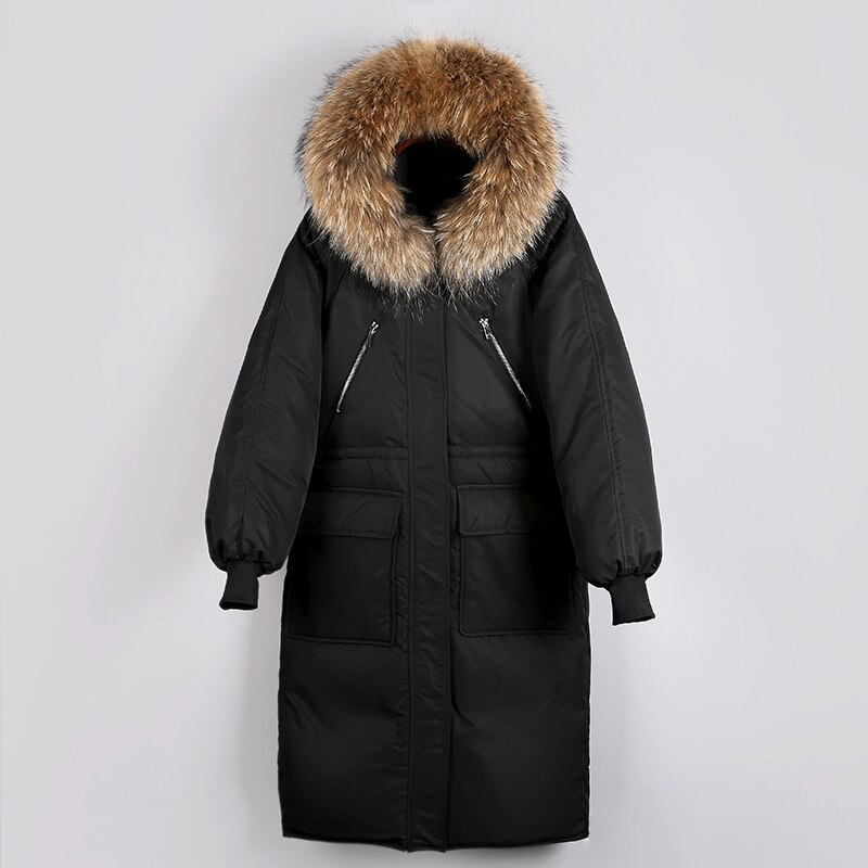 Fitaylor Women Down Jacket Warm Large Natural Fur Collar Hooded 90% White Duck Down Parkas Casual Female Thick Loose Outwear 4