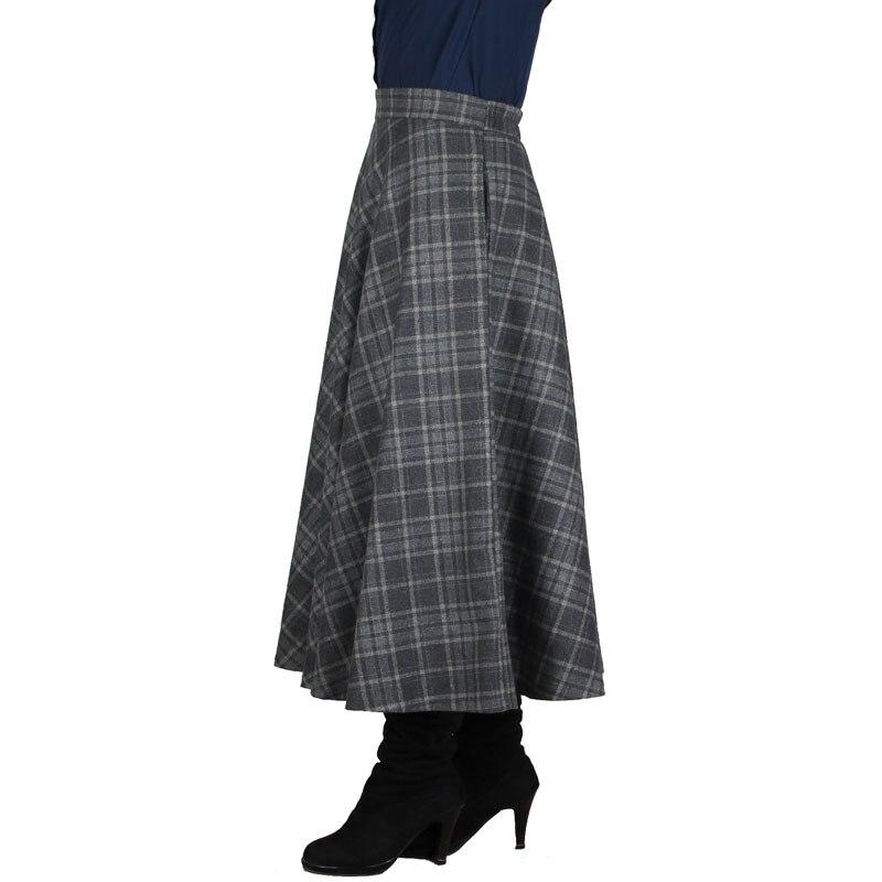 Plaid Skirt Women Long Skirt British Style Woolen Plaid Skirts Spring Vintage Wool Tartan Umbrella Autumn Elegant Female Skirts 2