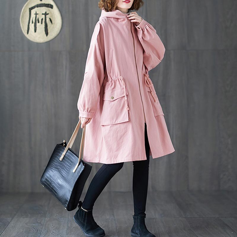 Plus Size 4XL 5XL 6XL 7XL Women Jackets Oversize Autumn Winter Thicken Cotton Hoody Outerwear Vintage Zipper Long Windbreaker 3