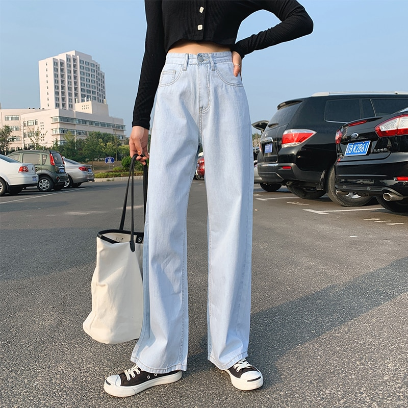 Women Fashion Spring and Autumn Wide Leg Jeans Straight Stretch Thin Korean Version Large Size High Waist Jeans Full-length blue 2