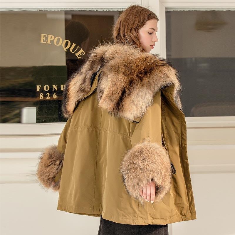 Big Real Raccoon Fox Fur Collar hooded Women Down Jacket 90% White Duck Down Coat Outwear Winter Women's Parka Female Plus Size 3