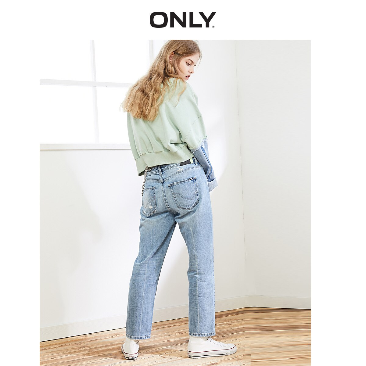 ONLY Women's Loose Straight Fit Ripped Low-rise Crop Jeans |119449517 2