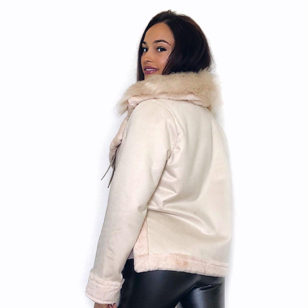 2019 Winter Women Jacket Artificial Wool Leatherette Female Wadded Coat Warm Slim Fleece Thicken Mujer Jacket Fur Neck Women Top 3