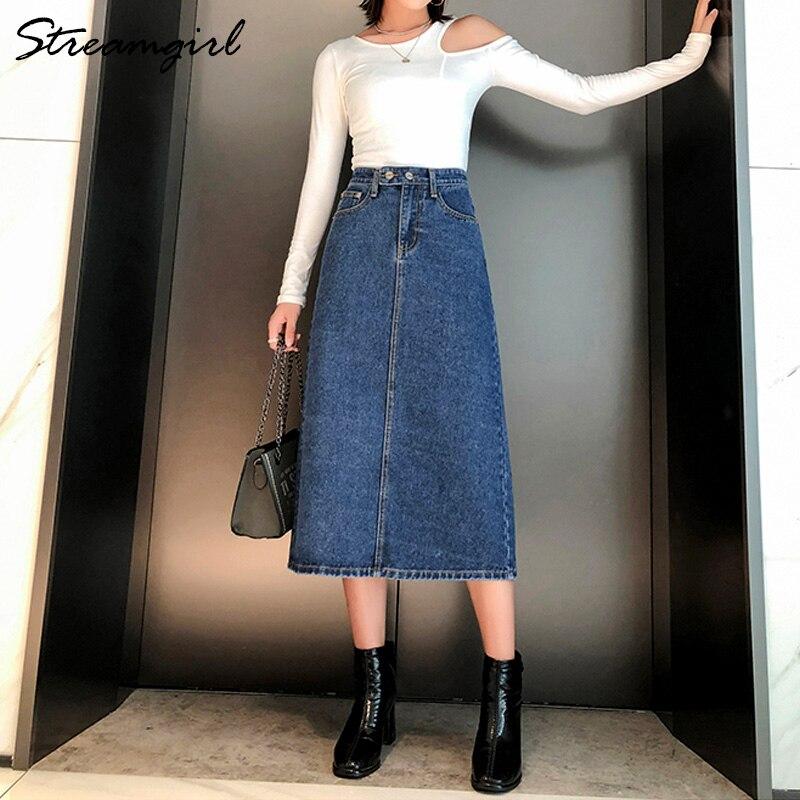 Women Skirt Denim Long Slim Jeans 2019 Autumn Vintage Skirts For Women Long Skirts Jeans Woman Maxi Plus Size Skirt High Waist 3