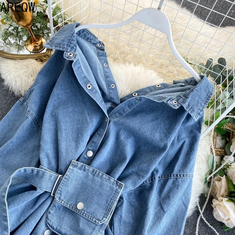 Vintage Sashes Slim Waist Jeans Coat Women Autumn Spring Women Denim Jacket Korean Long Denim Women Jacket 3