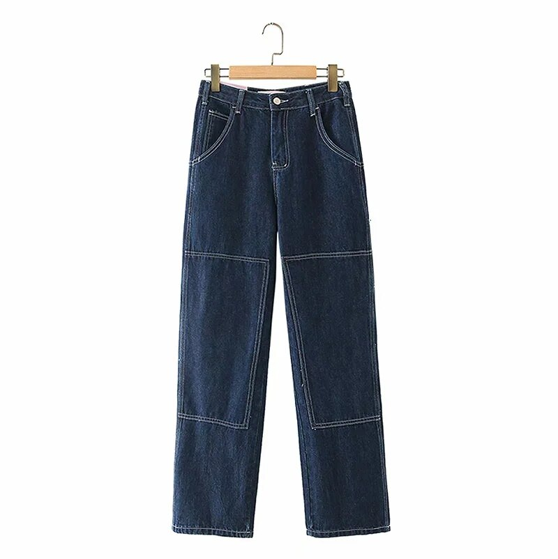 Women High Rise Contrast Stitching Straight Leg Jean Dark Wash Relaxed Fit Denim Pants 4