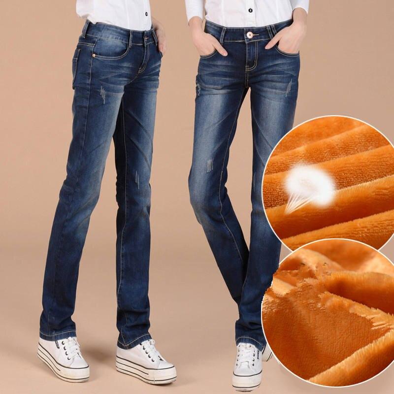 Autumn Winter Plus Velvet Straight Jeans Woman Plus Size Loose Thicken BF Style Black Long Pants Women Denim Jeans Mujer C4977