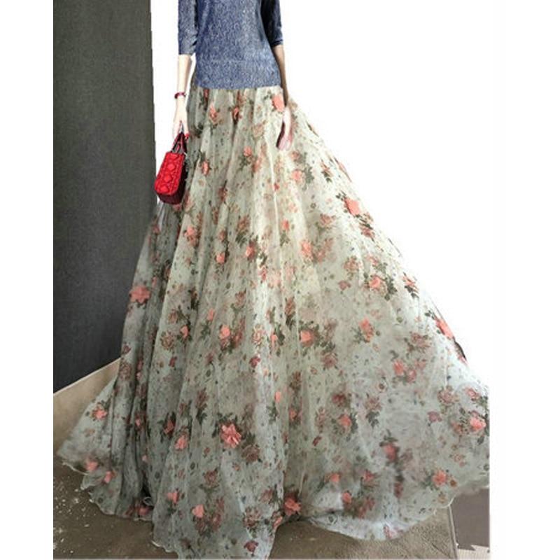 2020 Summer Woman New Large Plus Size 6XL 7XL 8XL Female Fashion Pink Chiffon Lace Polka Dot Floral Long Female skirt for Womens 4