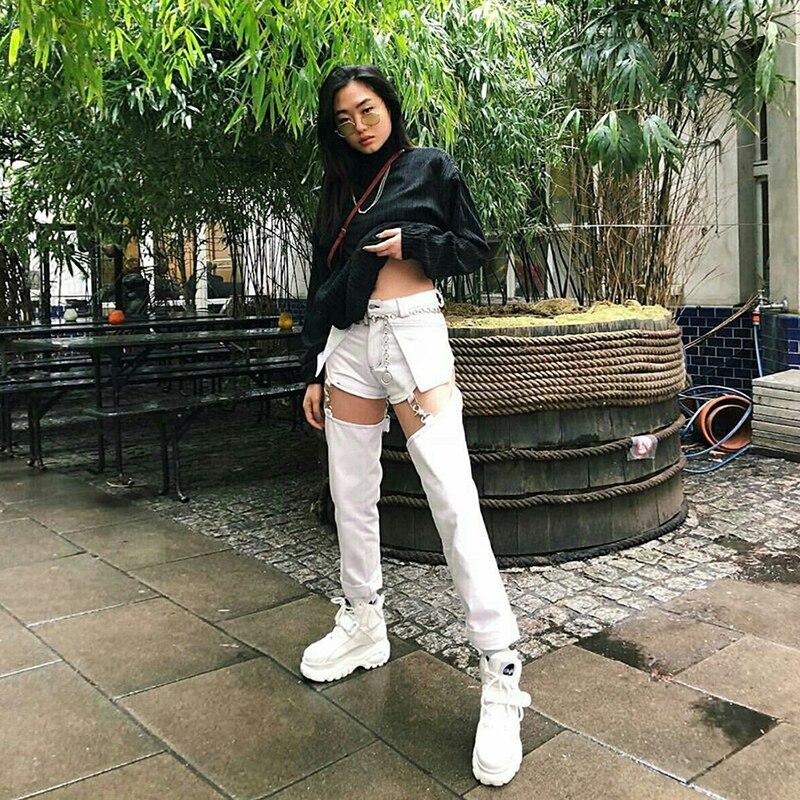 Punk Style Jeans Women Hip Hop Pocket White Hole Ripped Denim Pants Lady Autumn Straight Trousers Chain Detachable Pants Female 1
