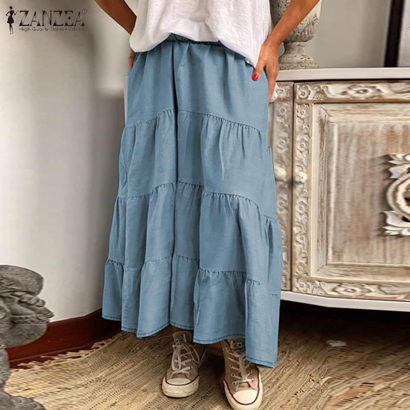 ZANZEA Women Long Skirts Vintage Ruffles High Waist Maxi Faldas Saia Casual Solid Holiday Loose Female Cake Skirt Plus Size 5XL