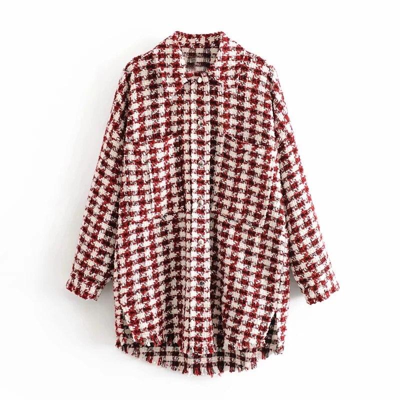 woman jacket houndstooth oversized tweed jacket long sleeve fashion tassel plaid coat loose woolen checkered outwear femme veste 3