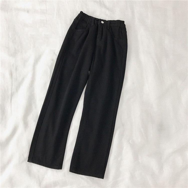 kpop Korean Celebrity same Autumn Korean high waist wild casual jeans women loose High street fashion straight jeans lady pants 3