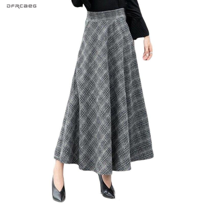 Elegant Plaid Warm Wool Womens Long Skirts Winter High Waist Streetwea Ladies Woolen A-Line Skirt Casual Female Saia Longa 2