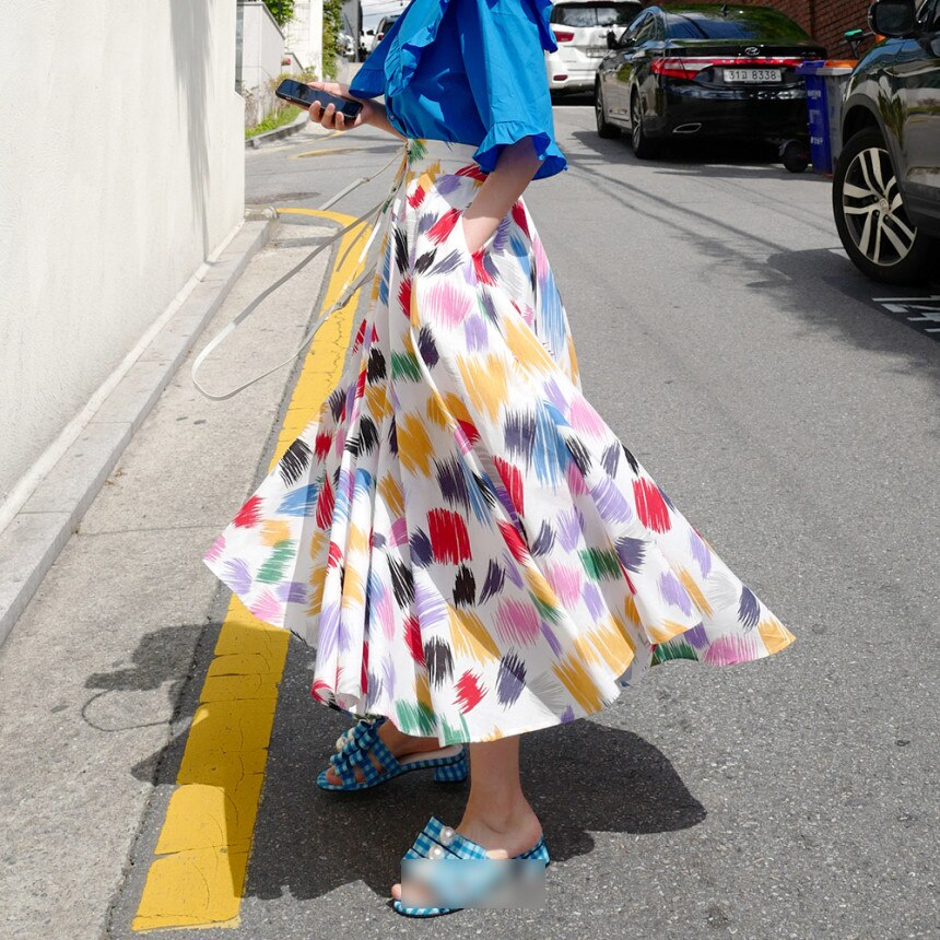 Colorful White Print Women Long Skirts New Korean Chic SummerLace-up High Waist Skirt Large Sewing Bohemian Beach Skirt 2020 1