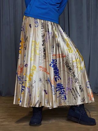 Winter New Assortment graffiti print lengthy pleated skirt girls