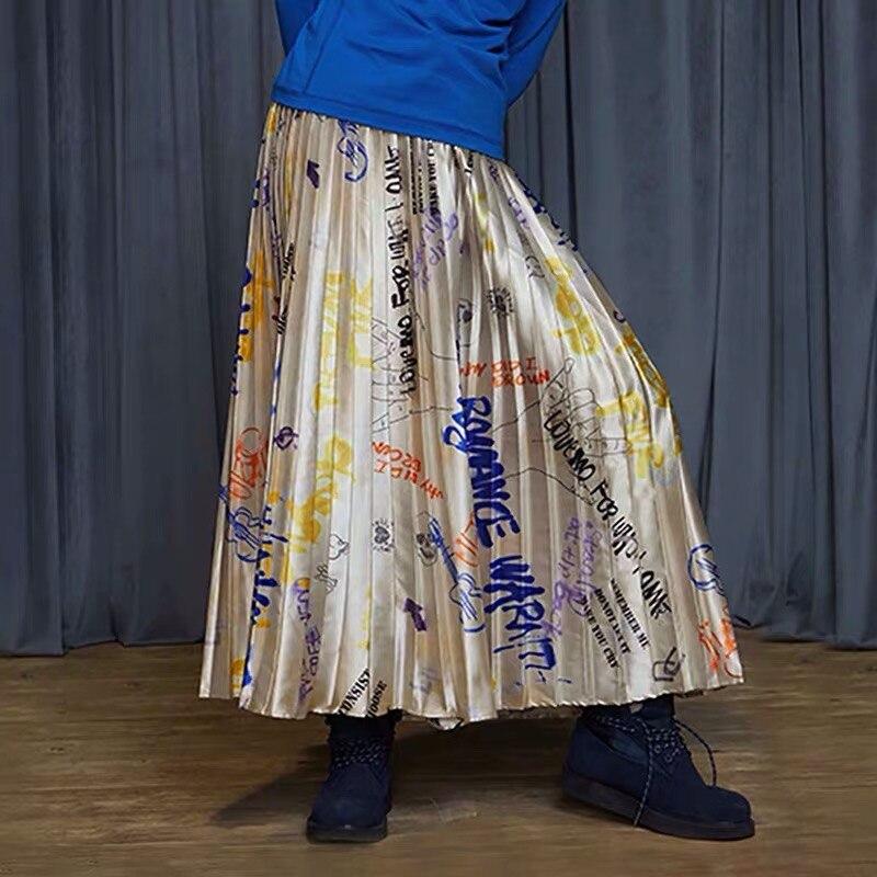 IRINACH32 Fall Winter 2019 New Collection graffiti print long pleated skirt women