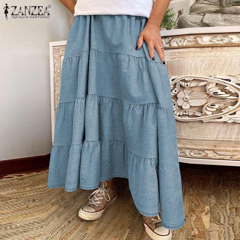 ZANZEA Women Long Skirts Vintage Ruffles High Waist Maxi Faldas Saia Casual Solid Holiday Loose Female Cake Skirt Plus Size 5XL 2